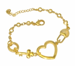 1-0455-D1 Ladies Hear tkey and Lock Bracelet