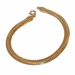 "1-0456-f1 Gold Layered alternative Curblink bracelet, 7"" length, 5mm wide,"