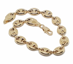 1-0456-f8 18kt Brazilian Gold Filled Ladies Puff Marine Link Bracelet. 8mm wide by 7.5 inches length.