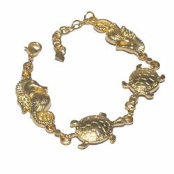 1-0463-f3 18kt Brazilian Gold Filled Turtles and Seahorses Link Bracelet