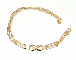 1-0470-f6 316L Gold Filled X Design Bracelet for Ladies. 7.5 iches, 5mm.