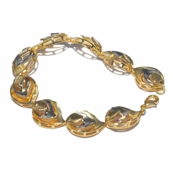 1-0478-f3 18kt Brazilian Gold Layered Two Tone Leaf Design Bracelet.