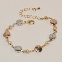 "1-0484-e6 Three Tone Circles and Gold Beads Bracelet. 6.5""-8"" adjustable length. 9mm circles."
