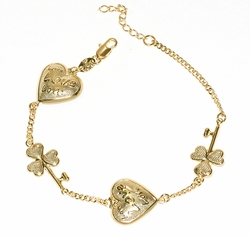 1-0478-D2 Clover Key Heart Love Bracelet