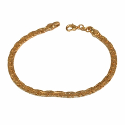 "1-0487-f1 Gold Layered Alternative link Bracelet, 7.25"" length, 4mm wide,"