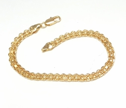1-0487-f6 18kt Brazilian Gold Filled Bismark Bracelet. 7.5 inches, 5mm wide.