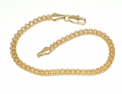 1-0489-f6 18kt Brazilian Gold Filled Bismark Bracelet. 7.75 inches, 4mm wide.