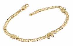 "1-0490-f10 18kt Brazilian Gold Layered 7.5"" Flat Marine Link Bracelet with Elephants. Flat Marine Link is 4mm wide."
