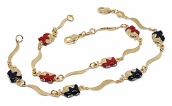 1-0496-f9 18kt Brazilian Gold Layered Red and Black Elephant Bracelet Set (1pc Red and 1pc Black). 7.5 inches length, 7mm links and elephants.