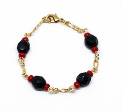 "1-04XX-f310 18kt Brazilian Gold Layered 5"" Azabache Bracelet for Kids. 4mm simulated azabache beads."