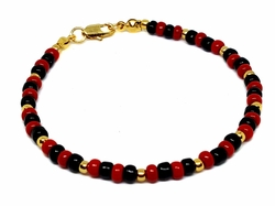 1-0778-RED-BLACK 18kt Brazilian Gold Layered Elegua Santero Bracelet with Red and Black 4mm Beads.
