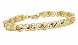 "1-0501-f11 18kt Brazilian Gold Layered 7-1/2"" Circle Stars Diamond Cut Bracelet. 7mm."