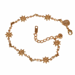 "1-0503-f1 Gold Plated Marine charms Bracelet, 7.5"" to 8.5"" adjustable length,"