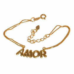 "1-0507-f1 Gold Layered Amor Name Plate Double box link Bracelet, 6.5"" to 8"" adjustable length,"