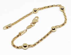 1-0507-f10 18kt Brazilian Gold Filled Mesh Link with Beads Bracelet. 7.5 inches, 5mm beads.