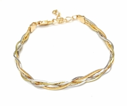1-0523-f6 18kt Brazilian Gold Layered Three Tone Braided Snake Bracelet
