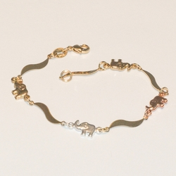 1-0542-e3 Three Tone Elephant Bracelet 7""