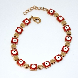 1-0548-f5 Gold Layered Red Evil Eye Bracelet