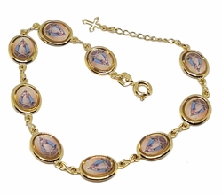 "1-0549-f10 18kt Brazilian Gold Layered Caridad Del Cobre ""Ochun"" Photo Bracelet. 7 to 8 inches adjustable length. 9mm photo links."