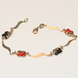 1-0573-e3 elephant Bracelet Red and Black