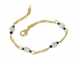 1-0581-D1 White and Black Beaded Bracelet