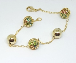 "1-0584-f6 18kt Brazilian Gold Layered Caged Multicolor CZ Bracelet. 7.75"" inches,"