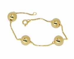 1-0590-D1 Box Chain and Balls Bracelet