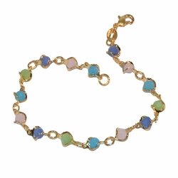 "1-0601-f1 Gold Layered Multicolored Stones bracelet, 7"" length, 6mm wide,"