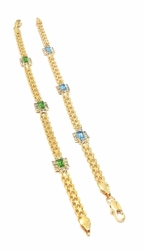 1-0614-f5 18kt Brazilian Gold Layered Bismark Bracelet with Crystals