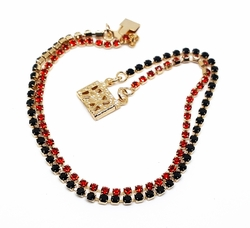 "1-0615-f10 18kt Brazilian Gold Layered 7.5"" Red and Black Double Strand Tennis Bracelet. 2mm stones."