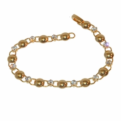"1-0622-f1 Gold Layered Crystals and Circles bracelet, 7.5"" length, 7mm wide,"