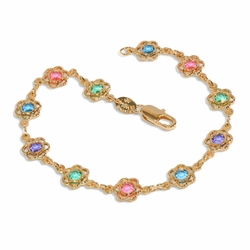 "1-0627-e8 Multicolor Flowers Bracelet. 7.5"" in length with 7mm flowers."