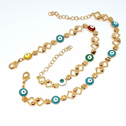 1-0632-f5 Gold Layered Evil Eye Bracelet