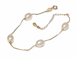 "1-0636-1-f7 18kt Brazilian Gold Layered Oval Pearls Bracelet with Box link. 8"" to 9.5"" length adjustable. 8mm pearls."
