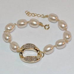 "1-0639-1-e6 Link Pearl Bracelet 7.5""-8"" adjustable length. 10mm Pearls."