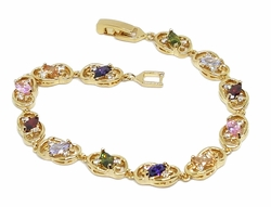 "1-0646-f11 18kt Brazilian Gold Layered 7-1/4"" Multicolor Marquise Cut CZ Tennis Bracelet. 8mm wide."