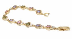 "1-0646-f211 18kt Brazilian Gold Layered 7-1/4"" Multicolor CZ  and Circles Tennis Bracelet. 8mm wide."