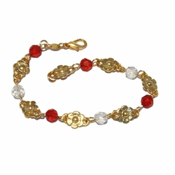 1-0650-f2 18kt Brazilian Gold Layered Red and White Beaded Flowers Bracelet