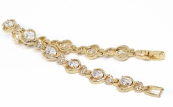 "1-0653-1-f11 18kt Brazilian Gold Layered 7-1/4"" CZ  and Hearts Tennis Bracelet. 8mm wide."
