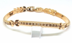 1-0657-1-f5 18kt Brazilian Gold Layered Rose Colored Curved Crystal Bars Bracelet