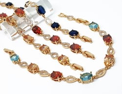 "1-0661-1-f10 18kt Brazilian Gold Plated Dressy Colored CZ Bracelet. 7"" to 8"" adjustable length."