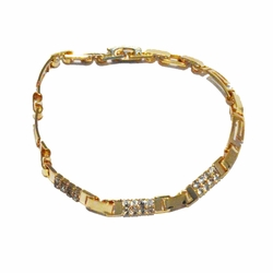 1-0661-1-f21 18kt Brazilian Gold Layered Fancy Greek Design  Link Crystals Bracelet