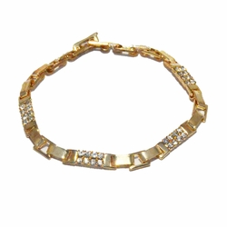 1-0661-1-f22 18kt Brazilian Gold Layered Fancy Link Crystals Bracelet