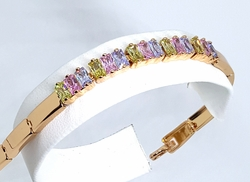 1-0664-f10 18kt Brazilian Gold Plated Multicolored CZ Bracelet. 7.25 inches length.