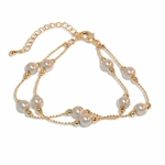 "1-0667-1-e8 Gold Plated Double Pearl Bracelet. 7""-8.5"" adjustable length. 6mm pearls."