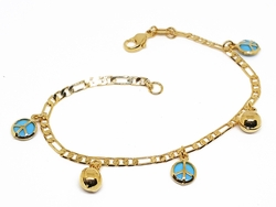 "1-0673-f10 18kt Brazilian Gold Plated Peace and Bells Charms Bracelet. 7.25"", 7mm bells."