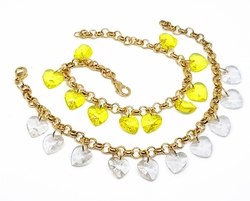 "1-0675-f10 18kt Brazilian Gold Plated Rolo Link Bracelet with Heart Charms. 7"" to *"""