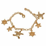 """1-0678-e10 Gold Plated Beach Charms Bracelet. 7-1/2"""", 4.5mm links, 15mm charms."""