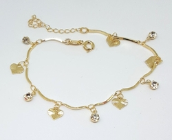 "1-0678-f6 18kt Brazilian Gold Layered Heart and Crystal Charms Bracelet. 7.5"" to 8.5"" adjustable length."