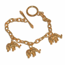 "1-0679-e10 Gold Plated Elephant Charms Bracelet. 7.5"", 6mm links, 1/2"" elephant charms."